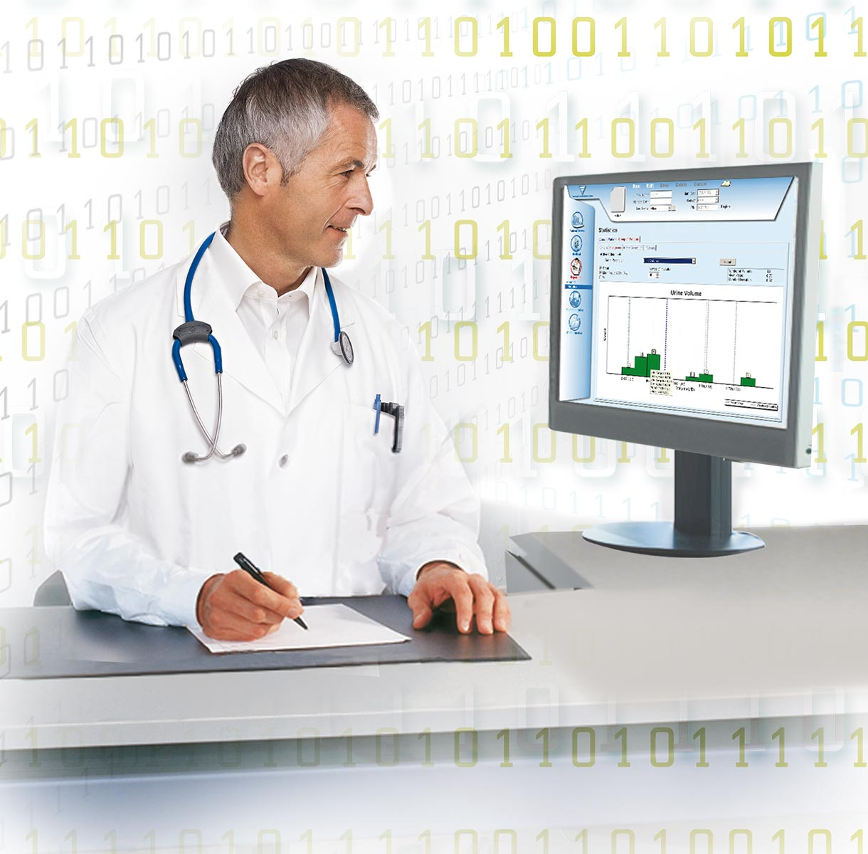 Physician looking at monitor data
